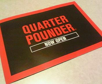 結局某ハンバーガーショップだった「QUARTER POUNDER」